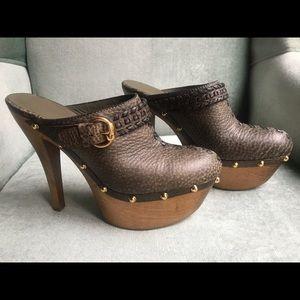 Gucci Janis Platform Clogs Leather Size 39 Us 9